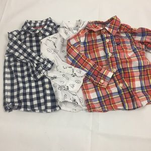 (2-002) Lot of 3 12 M Long Sleeve Button Down Tops